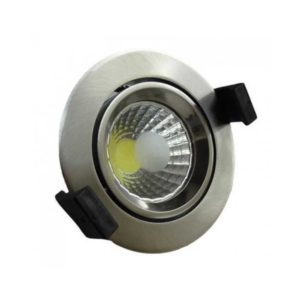 8w recessed-co-construction-cob-round-inox-swivel-cold white-6000k